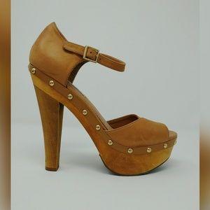 Steve Madden Avery wooden heels studded leather